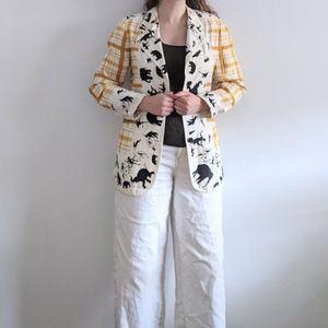 1980's Silk Animal Print and Yellow Plaid Blazer